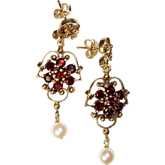 Earrings, Dangling Hanging, Garnet Pearl, Filigree, 14K Yellow Gold, Vintage