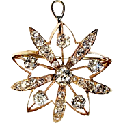 Diamond Star Pin Pendant, 14K Yellow Gold, 2+ Ct., Antique