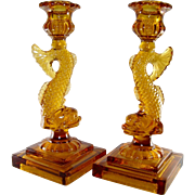 Imperial Glass Amber Dolphin Candlesticks Vintage
