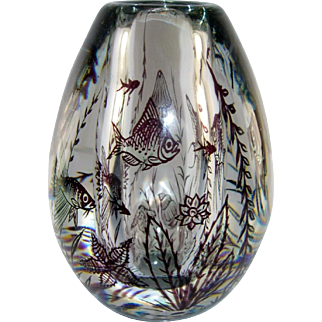 Orrefors Fish Graal Vase, Rare Purple Sea Creatures, Jellyfish, Star Fish, Shells, Edward Hald, 1949