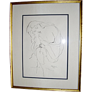 Walt Kuhn Draped Nude Pen Ink Drawing, 1928, Framed