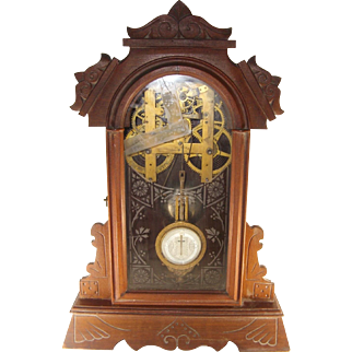 Kroeber 8 Day Veteran Mantel Clock, Strike, Carved Case, Antique, As Is