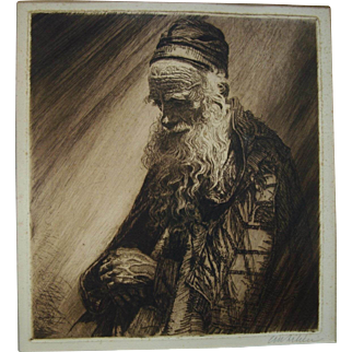 Ephraim Moses Lilien Etching, Framed, Yemenite, Antique