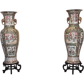 Vintage Pair of Large Chinese Rose Medallion Porcelain Floor Vases