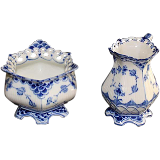 Royal Copenhagen Blue and White Fluted Full Lace Sugar and Creamer, 1958