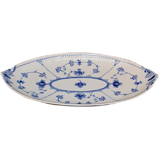 Royal Copenhagen Blue and White Fluted Full Lace Relish Plate