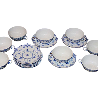 Royal Copenhagen Blue and White Fluted Full Lace Flat Cups and Saucers, 1958