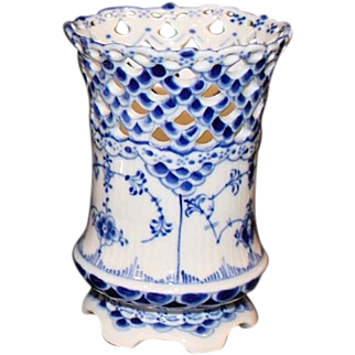 Royal Copenhagen Blue and White Fluted Full Lace Cigar Cup 1959