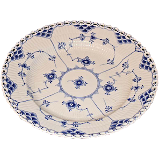 Royal Copenhagen Blue and White Fluted Full Lace Luncheon Plate, 1954