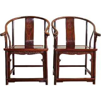 Pair of Antique Chinese Tielimu Horseshoe Back Armchairs, Quanyi