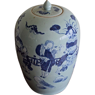 Antique Chinese Export Celadon Porcelain Covered Jar