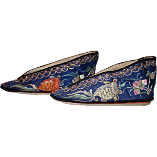 Antique Chinese Embroidered Blue Silk Lotus Slippers