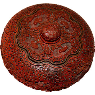 Exquisite Chinese Cinnabar Lacquer Round Box