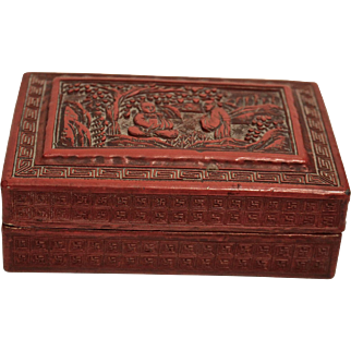 19th Century Chinese Cinnabar Red Lacquer Box