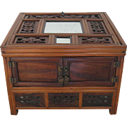 Antique Chinese Wood Cosmetic Box