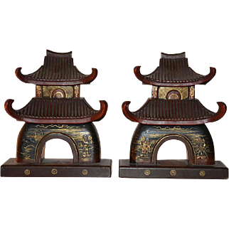 Vintage Japanese Lacquer Pagoda Book Ends
