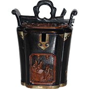 Antique Chinese Black Lacquer Wood Tea Caddy with Calligraphy Signature