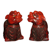 Pair  of   Chinese Republic Red-Lacquer Temple Lions