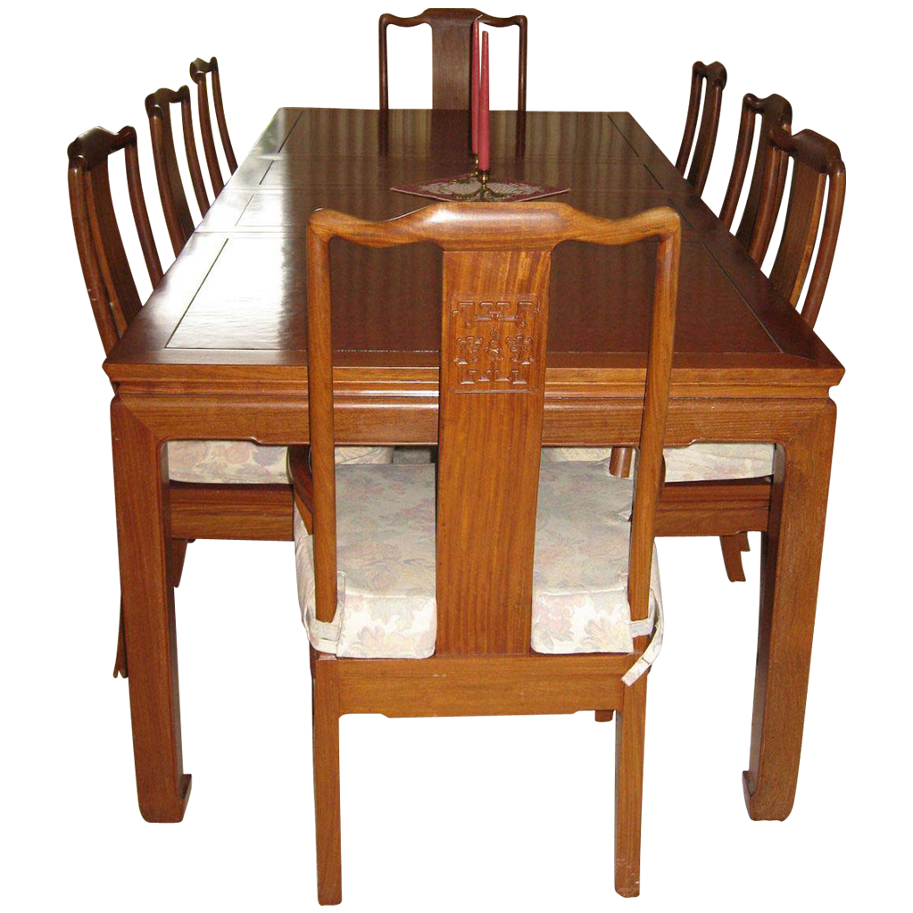 Vintage rosewood dining table burl top and eight chairs for Vintage dining table and chairs