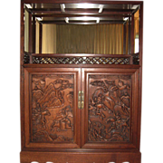 Chinese Rosewood Display Cabinet with Calligraphy Poem