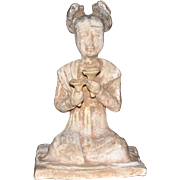 Chinese Tang Dynasty Pottery Seated Female Musician