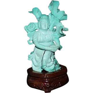 Chinese Carved Small Turquoise Deity