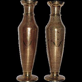 Splendid Vintage Tall Brass India Vases