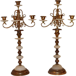 19th Century Elegant Alabaster and Brass Candleholders