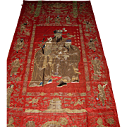 Antique Chinese Red- Silk Wedding Embroidery Inscription by General Ron Zhi
