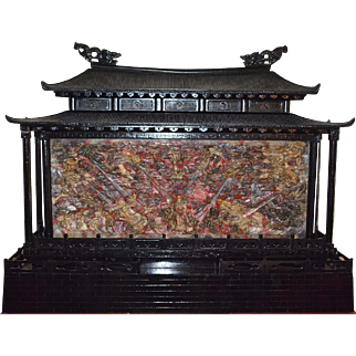 Chinese Carved Massive Blood Stone Dragon and Guanyin Temple Gate
