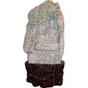 Chinese Carved Pale-Green Jade Mountain with Guanyin
