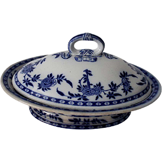 English Flow Blue Porcelain Covered Tureen