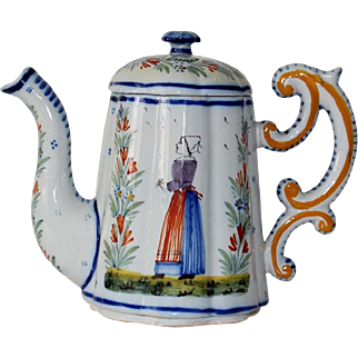 Antique French Quimper Pottery Fluted Coffee Pot with Breton Peasants