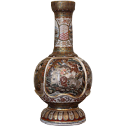 Beautiful and Unusual Japanese Satsuma Vase with Peonies and Monkeys