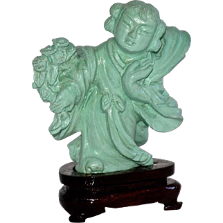 Chinese Carved Turquoise Flower Maiden