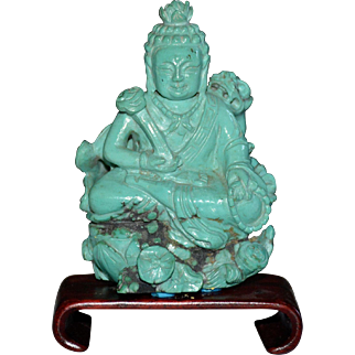 Chinese Carved Turquoise Buddha