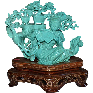 Chinese Carved Turquoise Seated Beautiful Maiden