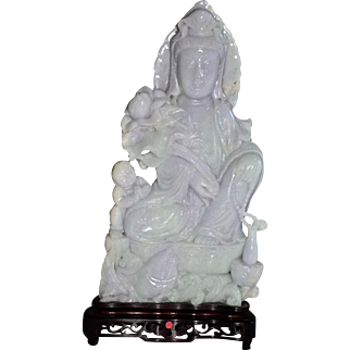 Chinese Carved Lavender Jade Guanyin
