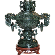 Beautiful Chinese Carved Spinach Jade Censor