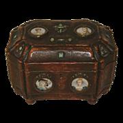 Antique Grand Tour French Napoleon & Josephine Wood & Enamel  Box