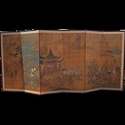 Old Japanese Six-Panel Folding Screen by Shimanzo-Ota