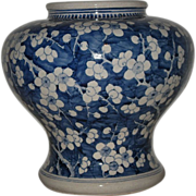 Old Chinese Republic Blue and White Porcelain Prunus Hu