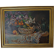 Early 1900's European Still Life of a Table Laden with Fruit and Fowl