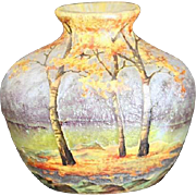 Magnificent Art Nouveau French Enameled Small Glass Landscape Vase by Daum