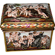 Capo Di Monte Porcelain Box with Cherubs