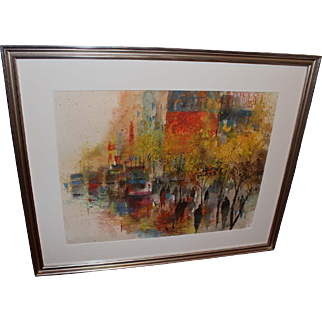 Watercolor Painting by Jack Laycox (American, 1921-1984) of City Street Scene