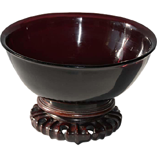 Antique Chinese Peking Glass Aubergine Large Footed Bowl