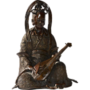 Early Vintage Chinese Bronze Female Musician with a Pipa or Lute