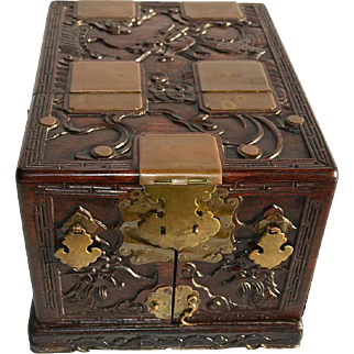 Antique Chinese Rosewood Cosmetic Box with Dragons