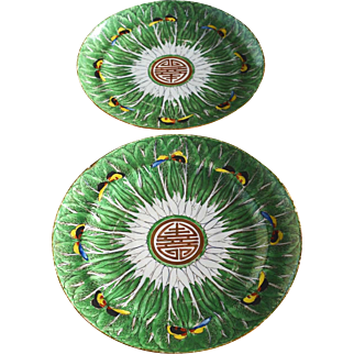Pair of Antique Chinese Porcelain Famille Verte Cabbage Pattern Plates